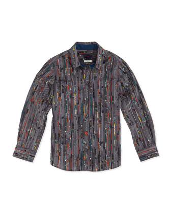 Paint-Striped Button-Down Shirt, Sizes 8-12