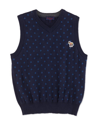 Polka-Dot Sweater Vest, Sizes 2T-6T