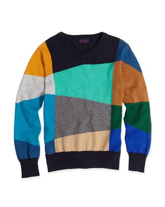 Colorblock Cotton-Cashmere Sweater, Navy/Multi, 8-12