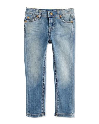Faded Skinny Jeans, Light Cobalt, Sizes 2-4