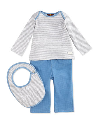 Infant Striped Tee, Pant & Bib Set, Blue/Gray, 0-9 Months