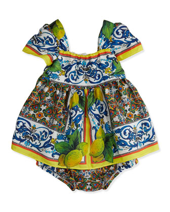 Lemon-Detail Print Dress, Yellow Multi, 3-24 Months