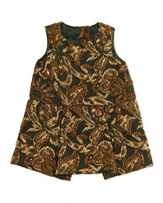 Brocade Drop-Waist Dress, Burgundy Multi, 3-24 Months