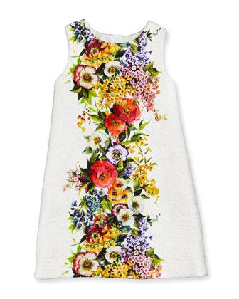 Girls' Floral-Print Matelasse Shift Dress