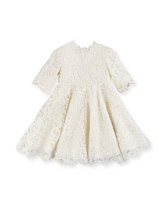 Guipure Lace Half-Sleeve Dress, Girls' 8-12