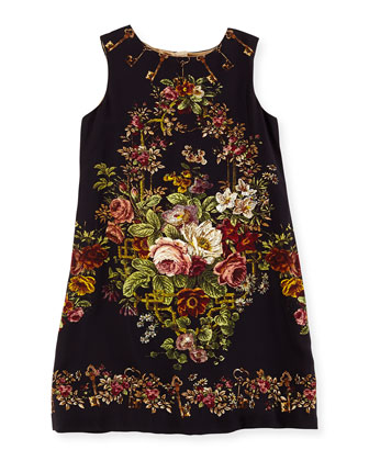 Rose Tapestry-Print Shift Dress, Girls' 4-6X