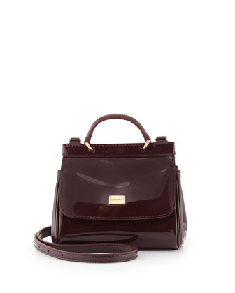 Girls' Patent Leather Bag, Burgundy