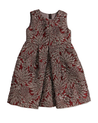 Girls' Floral Brocade Pleated Dress