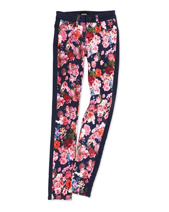Leeloo Floral-Print Skinny Jeans, Sizes 4-6X