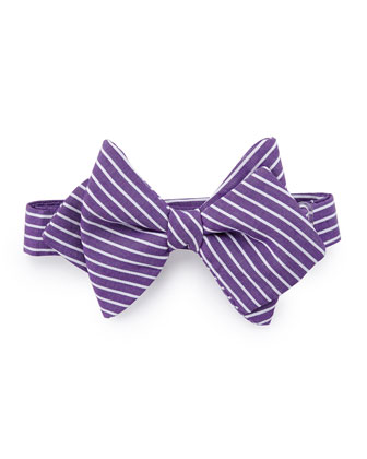 Striped Baby Bow Tie, Purple/White