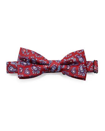 Paisley Jacquard Bow Tie, Red