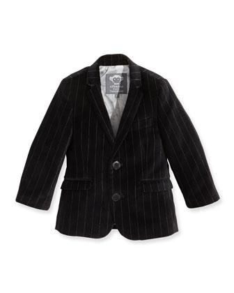Boys' Pinstripe Velvet Jacket, Black, 2T-14