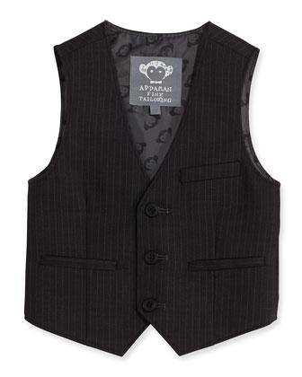 Boys' Pinstripe 3-Button Vest, Black, 2T-14