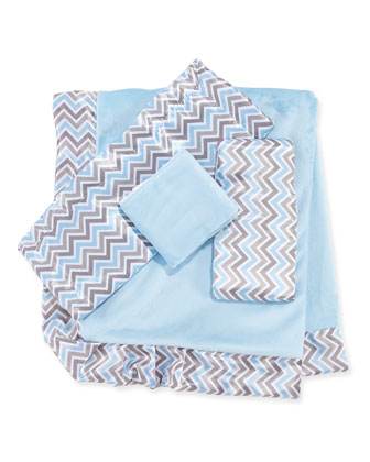 Chevron Receiving Blanket, Blue