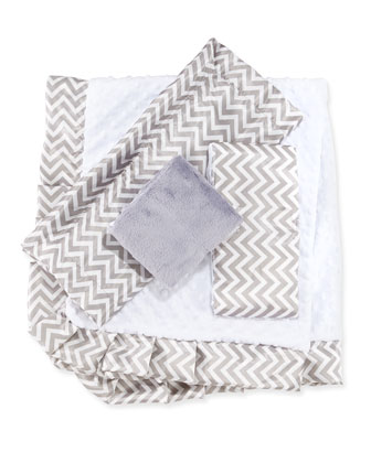 Chevron Receiving Blanket, Slate
