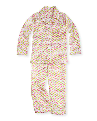 Dot-Print Satin Pajama Set, Hot Pink
