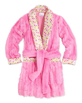 Dot-Print Satin Pajama Set & Dot Plush-Stripe Robe