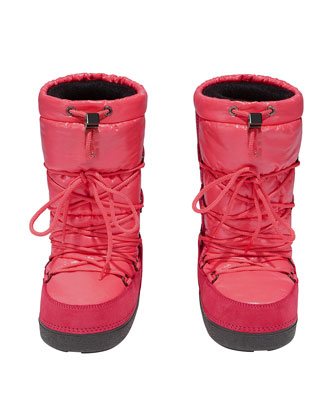Nylon and Suede Lace-Up Snow Boot, Pink