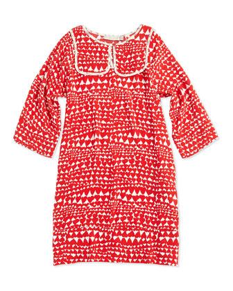 Heart-Print Dress, Red, 2Y-14Y