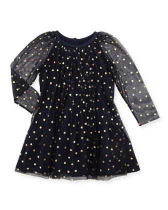 Tulle Heart-Print Dress, Navy
