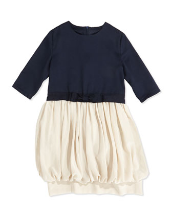 Bubble-Skirt Combo Dress, 2Y-14Y