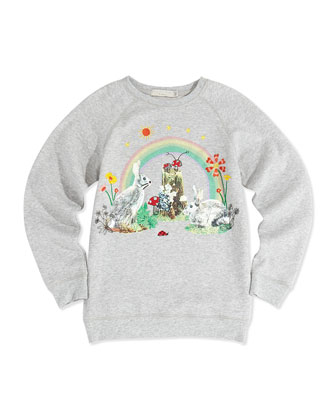 Rainbow and Bunny-Print Oversized Sweatshirt, 2Y-14Y