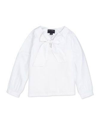 Cotton Bow-Detail Blouse, White, 2Y-14Y