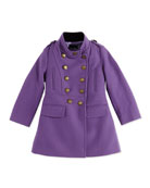 Wool Double-Breasted Drill Coat, Purple, 2Y-14Y