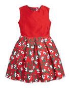 Taffeta Magnolia-Print Party Dress, Red, Girls' 2Y-14Y