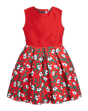 Taffeta Magnolia-Print Party Dress, Red, Girls' 2Y-14Y
