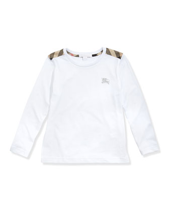 Check-Shoulder Long-Sleeve Tee, White, 4Y-10Y