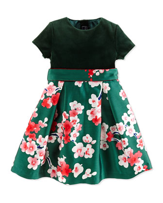 Berry Blossom Dress, Green, Girls' 2Y-14