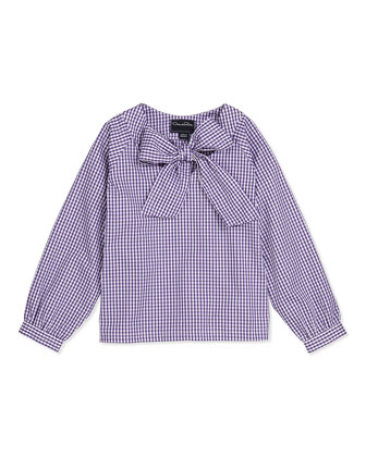 Girls' Check Cotton Bow Blouse & Wool A-Line Skirt
