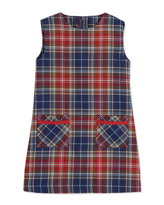 Plaid A-Line Pocket Dress, Red/Navy, 2Y-14Y