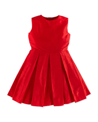 Taffeta Ballet-Style Party Dress, Red, Girls' 2Y-14Y
