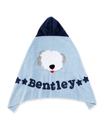 Personalized Puppy Love Hooded Towel, Blue