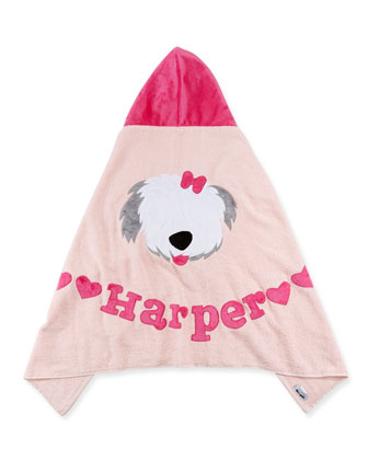 Personalized Puppy Love Hooded Towel, Pink