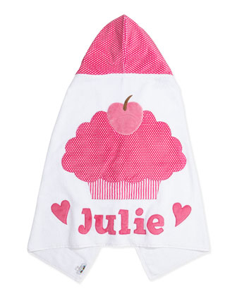 Personalized Cupcake Hooded Towel, Pink