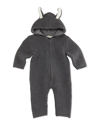 Hooded Knit Playsuit with Ears, Gray, 3-24 Months