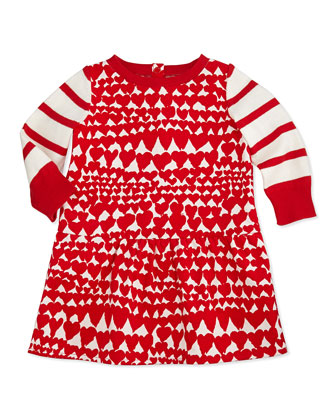 Heart-Print Corduroy Dress, Red, 3-24 Months