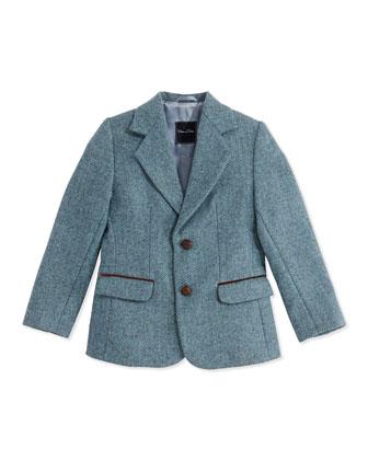 Tweed Two-Button Blazer, Teal, Boys' 2Y-10Y