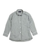 Check Poplin Long-Sleeve Shirt, Green