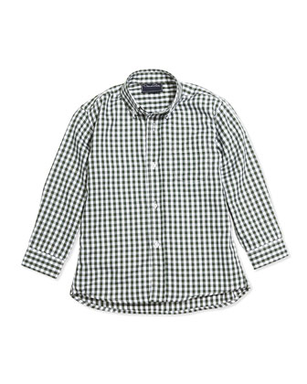 Check Poplin Long-Sleeve Shirt, Green