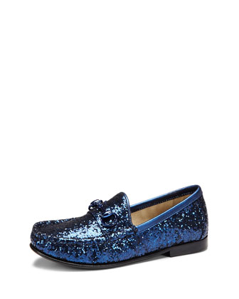 Girls' Glitter Horsebit Loafer, Blue