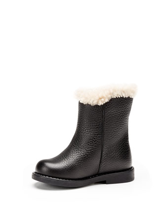 Pebbled Leather Boot with Shearling Lining, Toddler