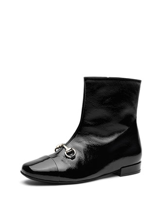 Junior Cap-Toe Horsebit Bootie, Black