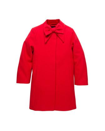Velvet-Trim-Bow Wool Coat, Red, 2Y-10Y