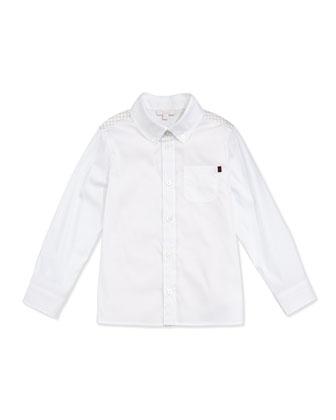 Logo-Print Yoke Button-Front Shirt, White/Straw, Sizes NB-36 Months