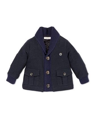 Shawl-Collar Jacket, Navy, 12-36 Months