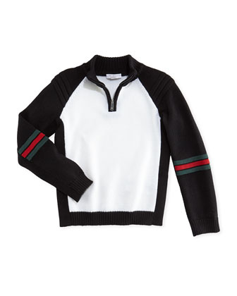 Contrast Wool Zip Cardigan, Black/White, 0-36 Months